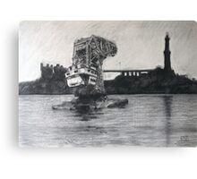 Old floating crane Canvas Print