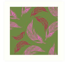 Seamless pattern with hand drawn feather Art Print