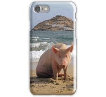 Pigs at the beach in Mykonos iPhone Case/Skin
