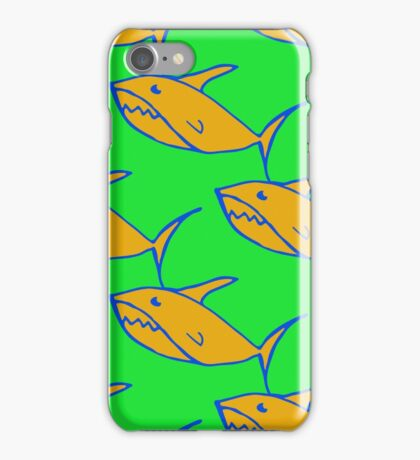 Bright seamless pattern with hand drawn sharks  iPhone Case/Skin