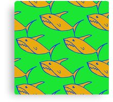 Bright seamless pattern with hand drawn sharks  Canvas Print