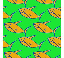 Bright seamless pattern with hand drawn sharks  Photographic Print