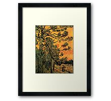 'Pine Trees Against A Red Sky with a Setting Sun' by Vincent Van Gogh (Reproduction) Framed Print