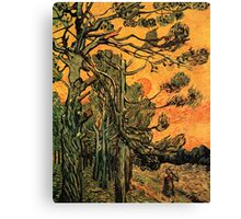 'Pine Trees Against A Red Sky with a Setting Sun' by Vincent Van Gogh (Reproduction) Canvas Print