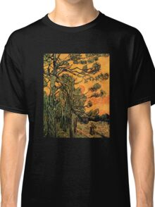 'Pine Trees Against A Red Sky with a Setting Sun' by Vincent Van Gogh (Reproduction) Classic T-Shirt