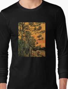 'Pine Trees Against A Red Sky with a Setting Sun' by Vincent Van Gogh (Reproduction) Long Sleeve T-Shirt