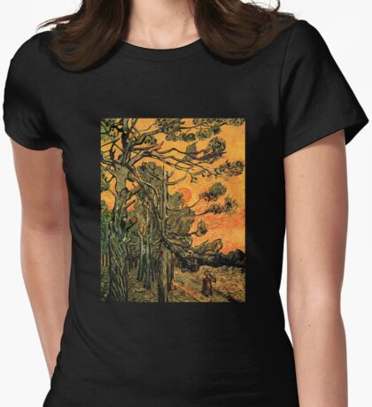 'Pine Trees Against A Red Sky with a Setting Sun' by Vincent Van Gogh (Reproduction) Womens Fitted T-Shirt