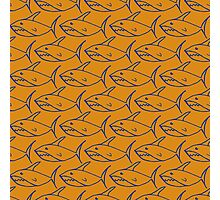Seamless pattern with hand drawn sharks on a yellow background.  Photographic Print