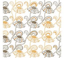 Seamless pattern with retro flowers on stems.  Photographic Print