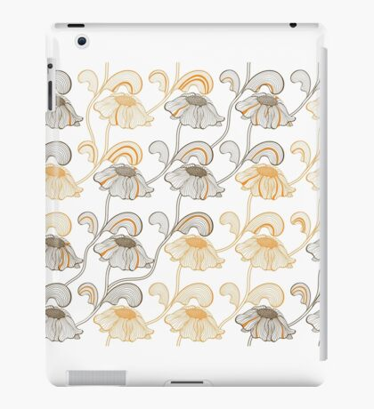 Seamless pattern with retro flowers on stems.  iPad Case/Skin