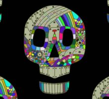 Colorful skulls on black background - seamless pattern.  Sticker