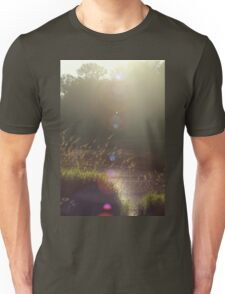 view across Trojan pond, near Goble, Oregon with lens flair Unisex T-Shirt