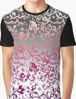 Ombre Floral Pattern Graphic T-Shirt