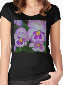 White & Pink Flowers Women's Fitted Scoop T-Shirt