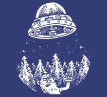 UFO buzzes Yeti in the forest by Anthony Woodward