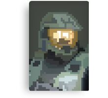 Master Chief Portrait - Pixel Art Canvas Print