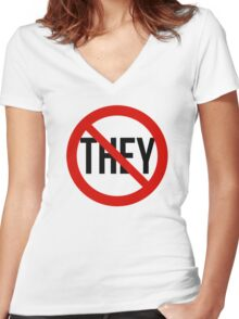No They! Women's Fitted V-Neck T-Shirt