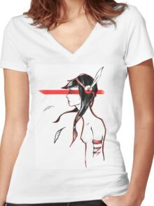 Native American Tribal Red Women's Fitted V-Neck T-Shirt