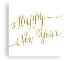 Happy New Year Gold Faux Foil Metallic Glitter Celebration Quote Isolated on White Background Canvas Print