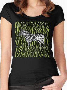 Zebra - animal colour pop art Women's Fitted Scoop T-Shirt