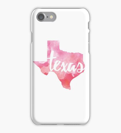 Texas - pink watercolor iPhone Case/Skin