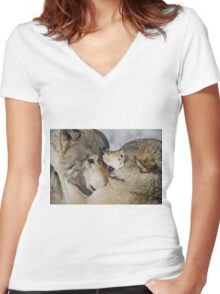 Timber Wolves Women's Fitted V-Neck T-Shirt