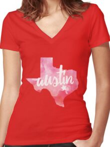 Austin, Texas - pink watercolor Women's Fitted V-Neck T-Shirt