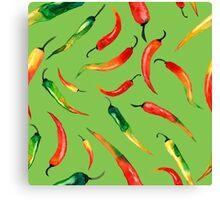 - Chilli pattern (green) - Canvas Print
