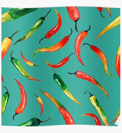- Chilli pattern (turquoise) - Poster