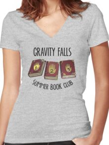 Gravity Falls: Summer Book Club Women's Fitted V-Neck T-Shirt