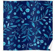 - Azure watercolor pattern (deep blue) -  Poster