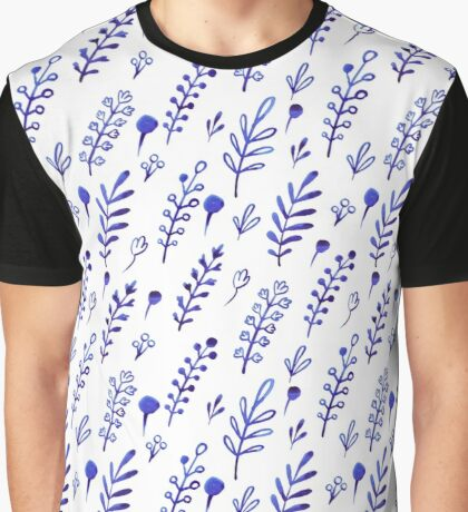 - Blue ink plants pattern - Graphic T-Shirt