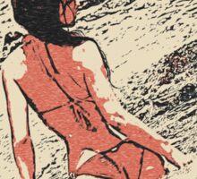 At the beach - sexy girl in bikini 6 Sticker