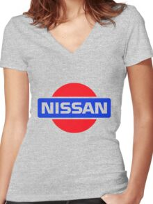 Old Nissan Logo Women's Fitted V-Neck T-Shirt
