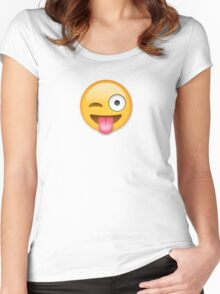 Tongue Out Emoji Women's Fitted Scoop T-Shirt