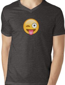Tongue Out Emoji Mens V-Neck T-Shirt