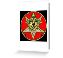 PUNK KITTY RED Greeting Card