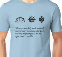 Lotus Flower, Dharma Wheel, and Endless Knot Unisex T-Shirt