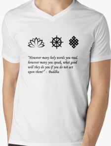 Lotus Flower, Dharma Wheel, and Endless Knot Mens V-Neck T-Shirt