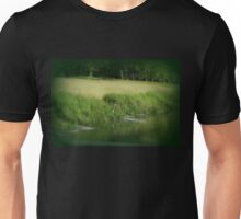 Great Blue Heron at edge of Trojan pond, near Goble, Oregon Unisex T-Shirt