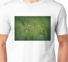 Great Blue Heron at edge of Trojan pond, near Goble, Oregon 2 Unisex T-Shirt