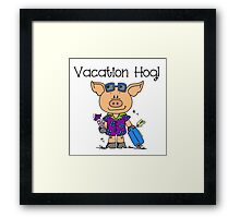 Cute Funny Pig Vacation Hog Framed Print