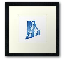 Rhode Island - blue watercolor Framed Print