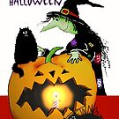 Happy Halloween, Witch, Pumpkin, black cat and spider. by Mary Taylor