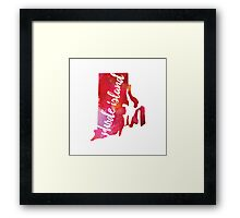Rhode Island - pink and red watercolor Framed Print