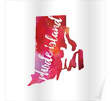 Rhode Island - pink and red watercolor Poster