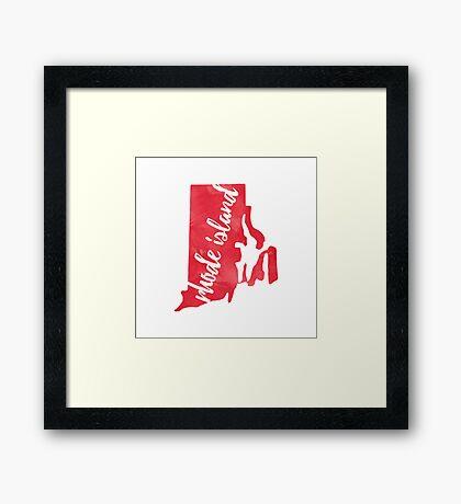 Rhode Island - Red Watercolor Framed Print