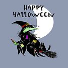 Happy Halloween, Witch on broomstick with black Cat. by Mary Taylor