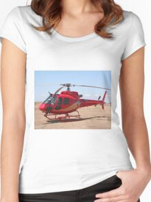 Helicopter, red, aircraft Women's Fitted Scoop T-Shirt