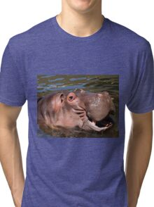 Happy African Hippo in water Tri-blend T-Shirt
